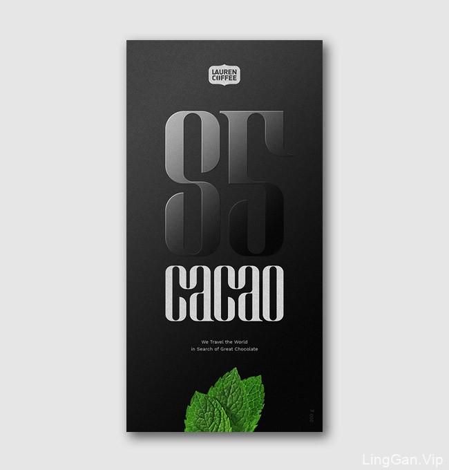 国外精致的LAUREN COFFEE黑巧克力包装设计欣赏