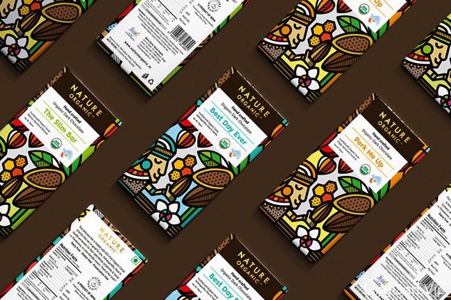 国外Nature Organic巧克力插图包装设计作品