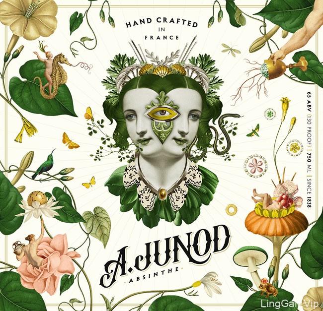 国外A.Junod苦艾酒瓶贴设计作品