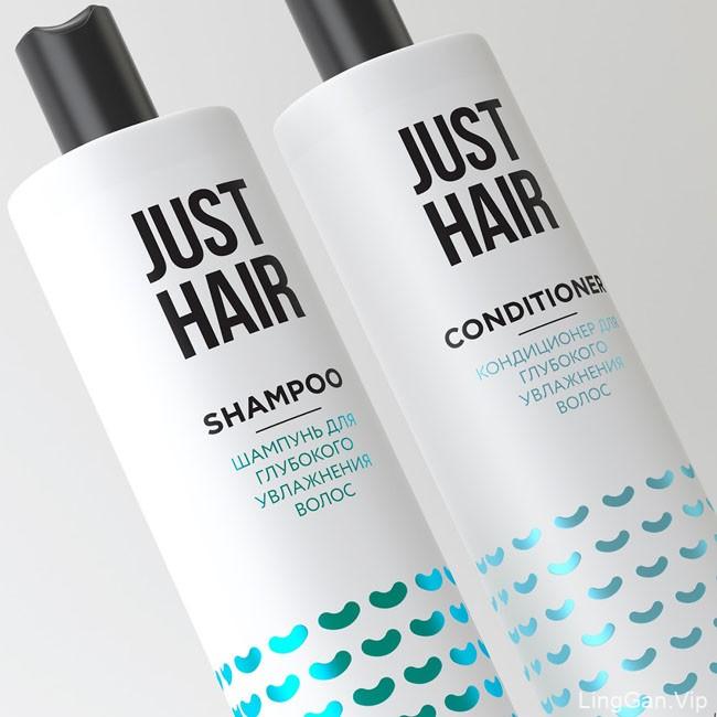简约时尚的Just Hair洗发水包装设计作品
