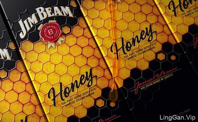 国外Jim Beam蜂蜜威士忌包装设计作品