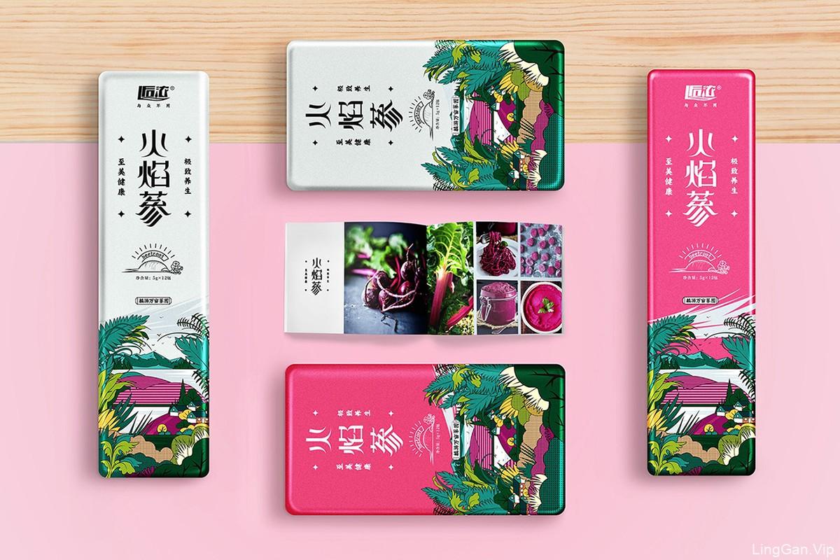 火焰蔘养生茶叶包装盒设计