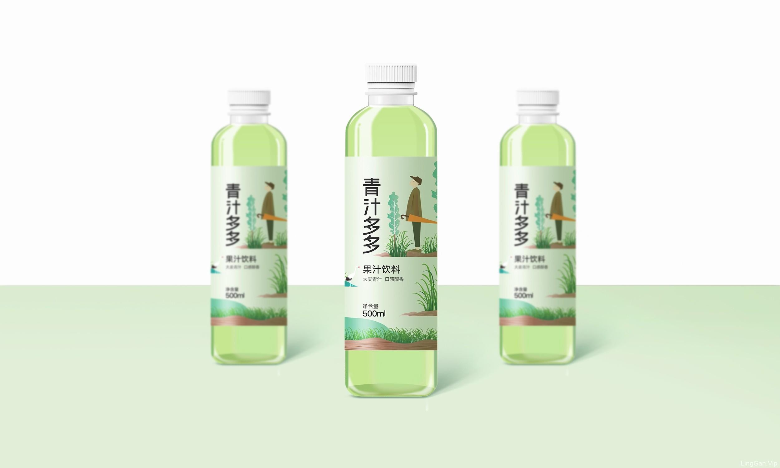 水微凉,青汁多多,柚子多多系列果汁饮料包装设计