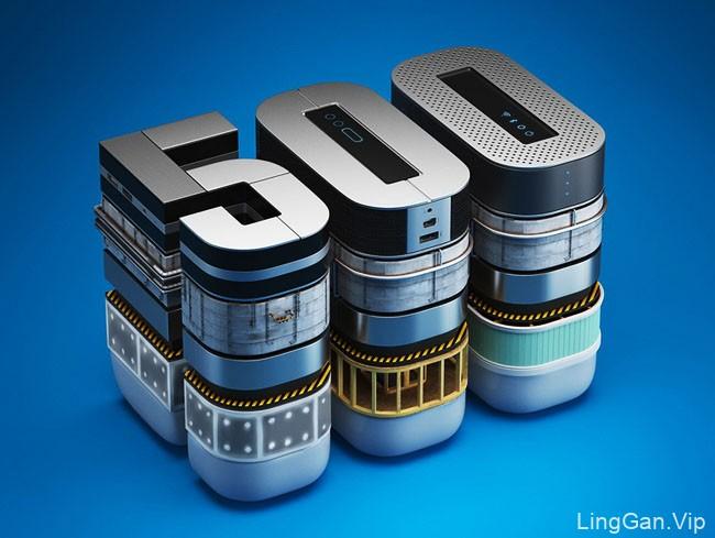《财富》杂志封面3D立体字设计:世界500强