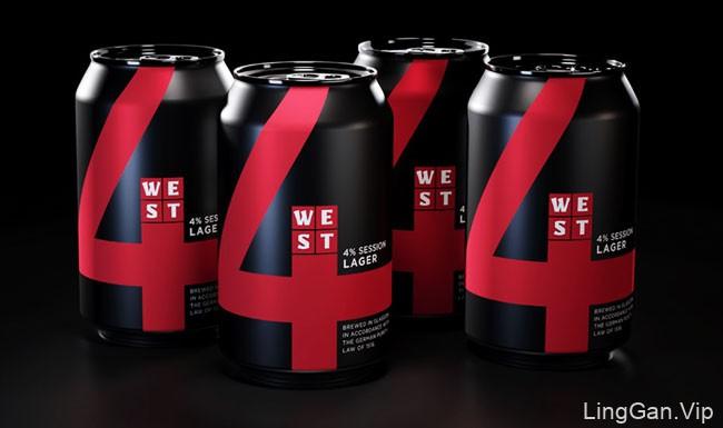 WEST啤酒易拉罐装包装设计