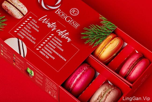 喜庆风格的BonGenie马卡龙糕点冬季礼品装包装作品