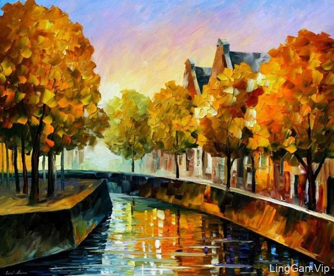 国外设计师LeonidAfremov色彩美丽鲜艳的都市风景画