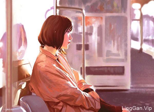 英国插画师Kirk Quilaquil的人物与风景画作品