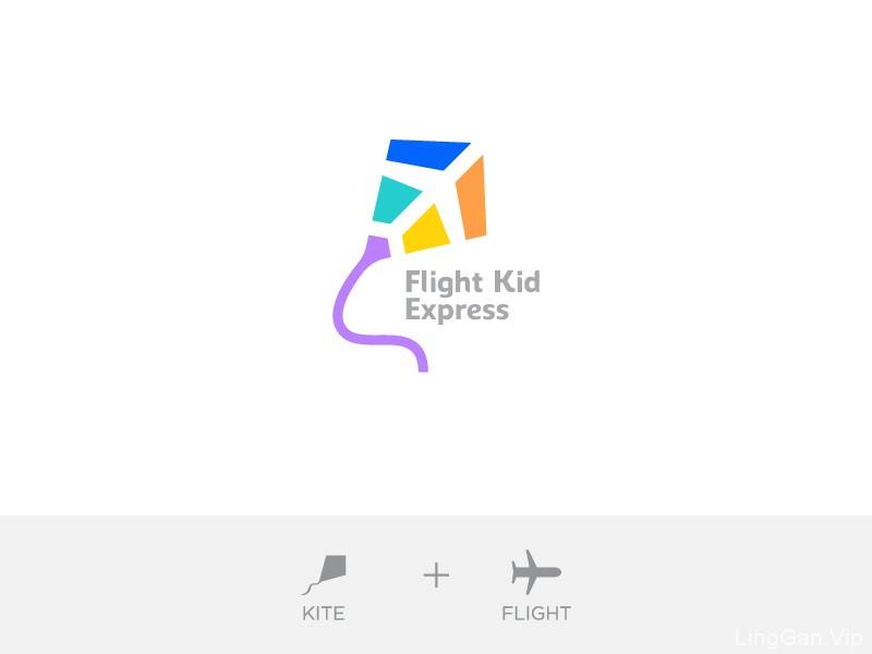 放飞纸鸢!32款风筝元素Logo设计