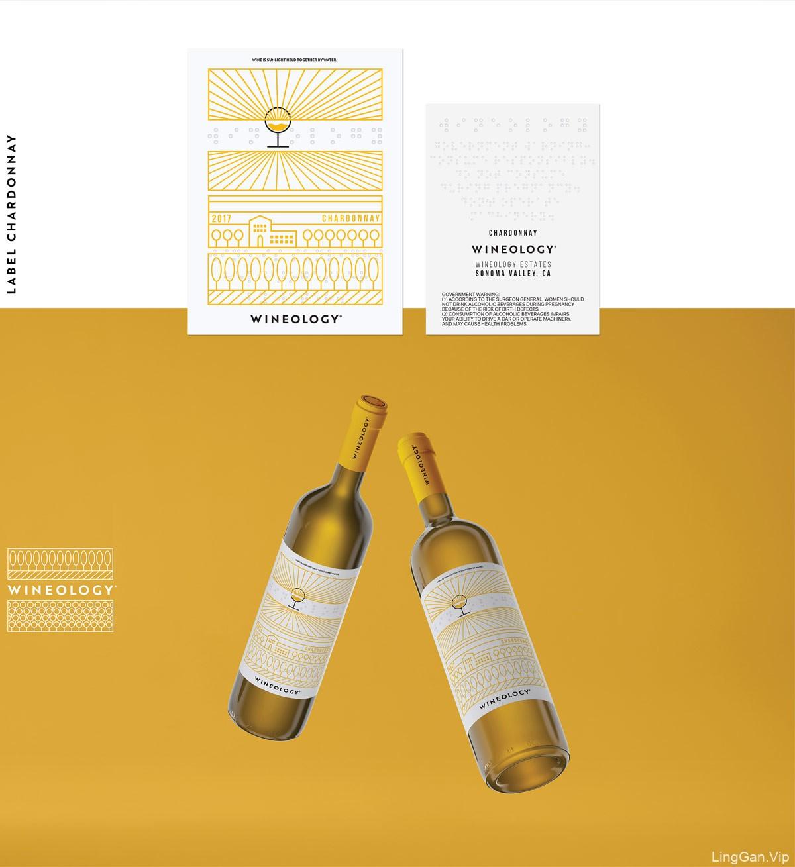 线条插画!葡萄酒瓶包装设计