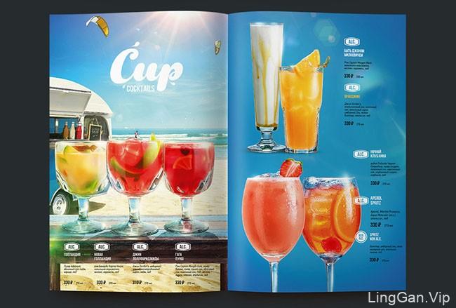 欧美风格的清凉感十足的夏季饮料菜单设计分享