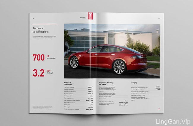 美国设计师Serge设计的红色版的Tesla汽车画册设计