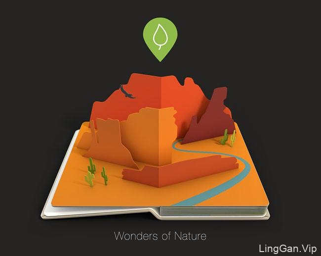 国外立体创意的AirPano旅游书籍封面设计