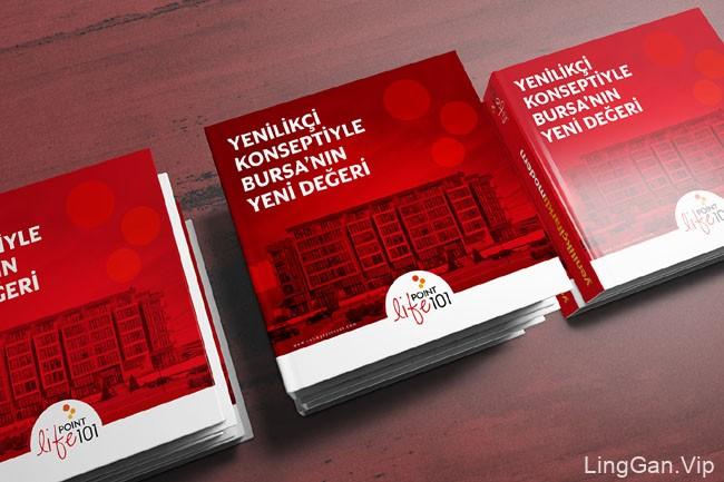 国外红色风格的Life Point 101建筑项目画册设计