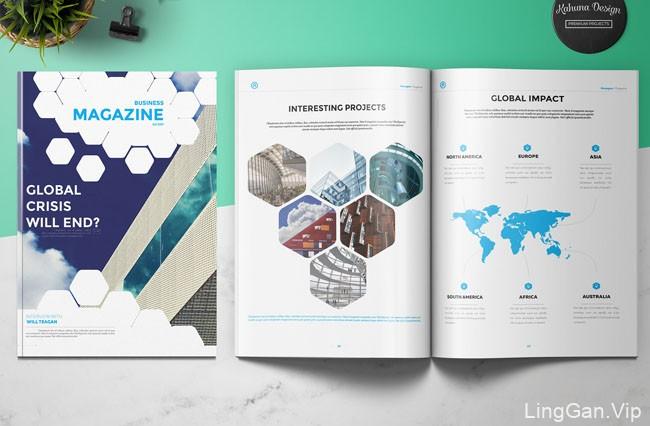 国外运用六边形元素的商务杂志模版设计