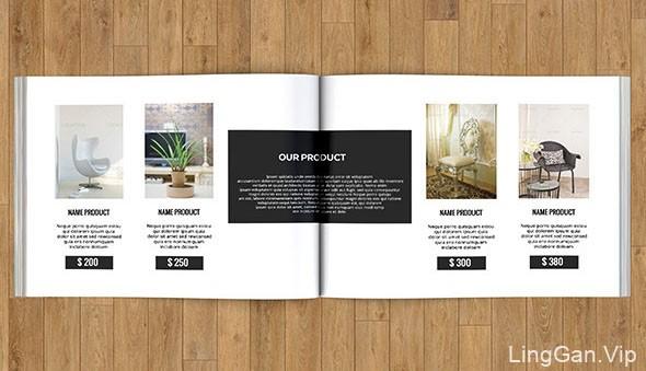 小巧型的横版室内设计画册模版设计作品