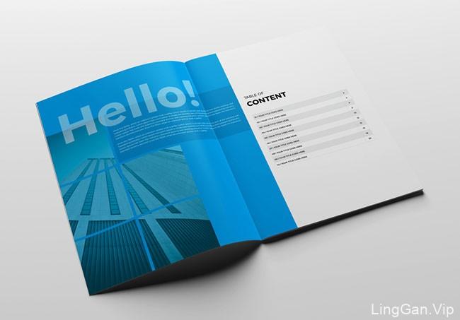 蓝色企业年度报告画册模版设计作品