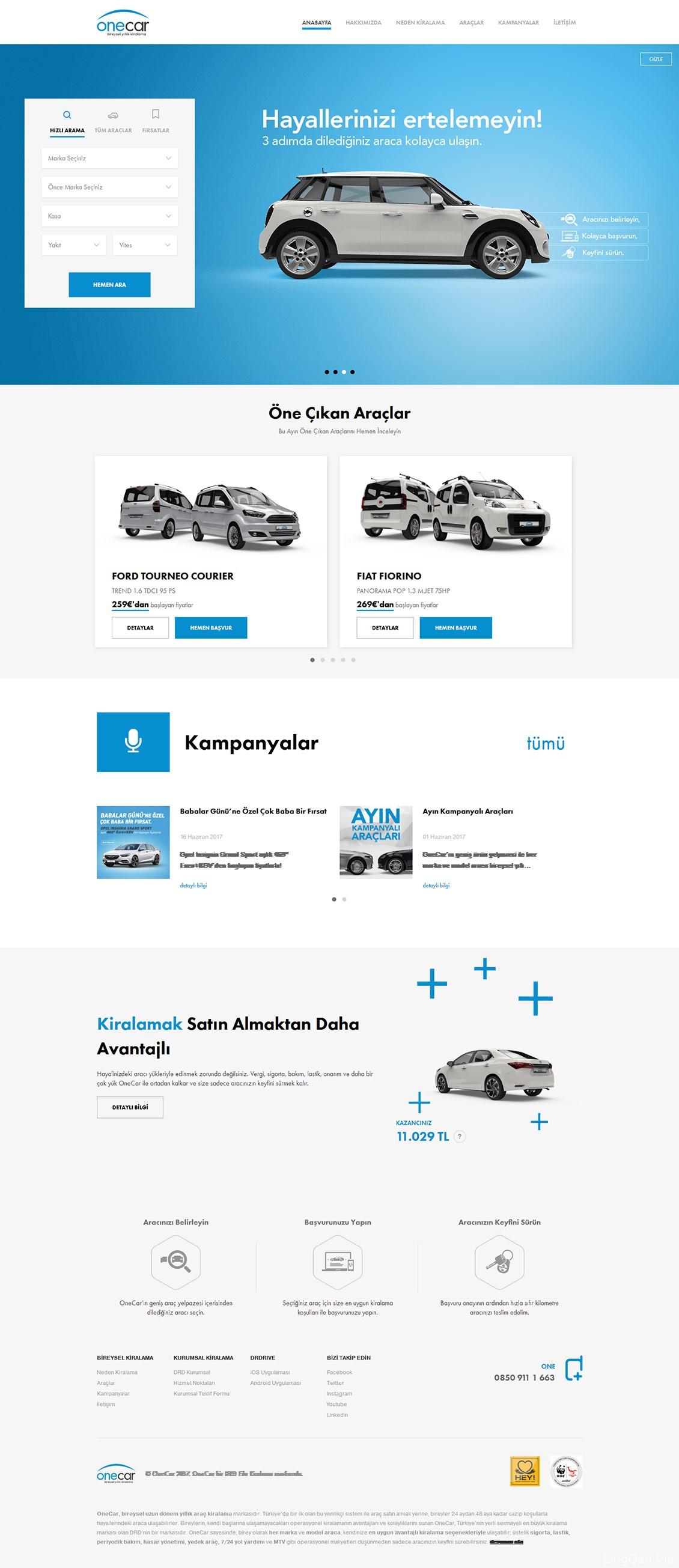 OneCar租车企业网站设计