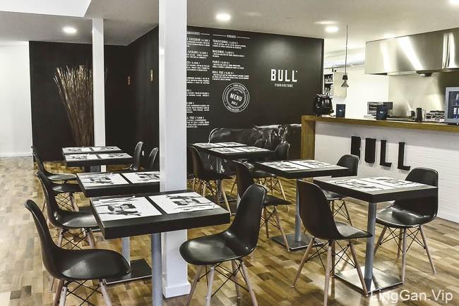 国外深黑色的Bull快餐店企业VI形象设计展示