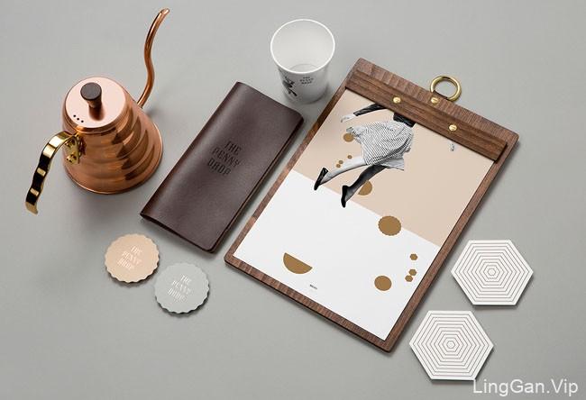 以一个国外ThePennyDrop咖啡馆咖啡色品牌VI设计
