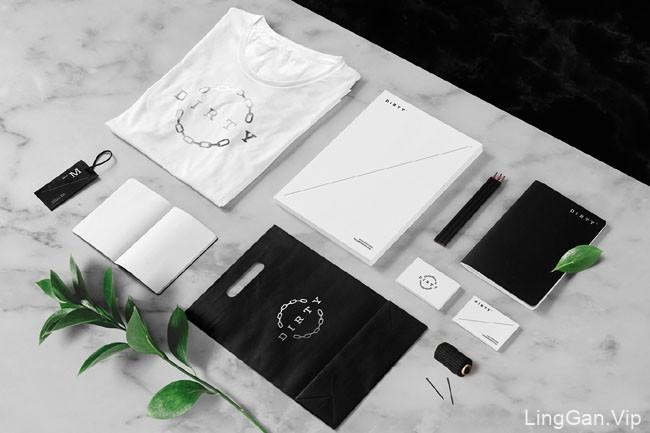 国外黑色风格DIRTY服装行业品牌企业形象VI设计展示