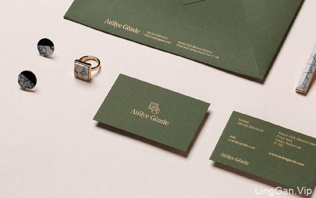 国外Atolye Gozde时尚品牌墨绿色风格的VI设计分享