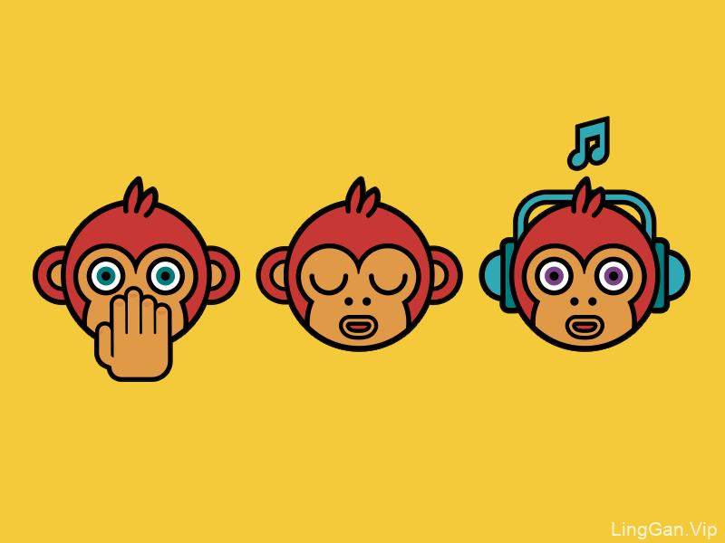 3种可爱小猴子的表情头像ICON图标分享