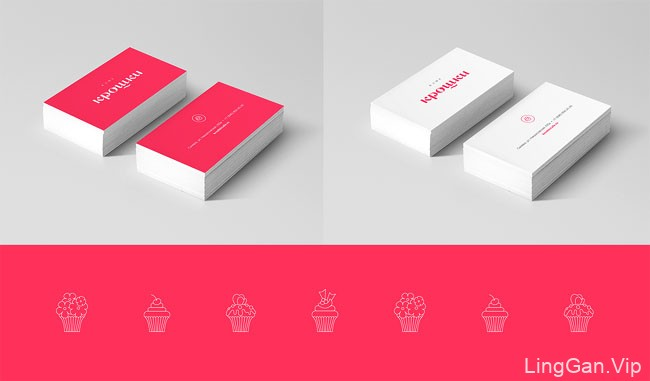 粉红色女性化的俄罗斯KROSHKI咖啡馆VI形象设计