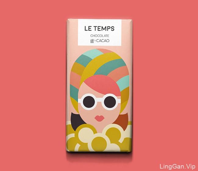 国外Le Temps巧克力时尚插图版包装设计