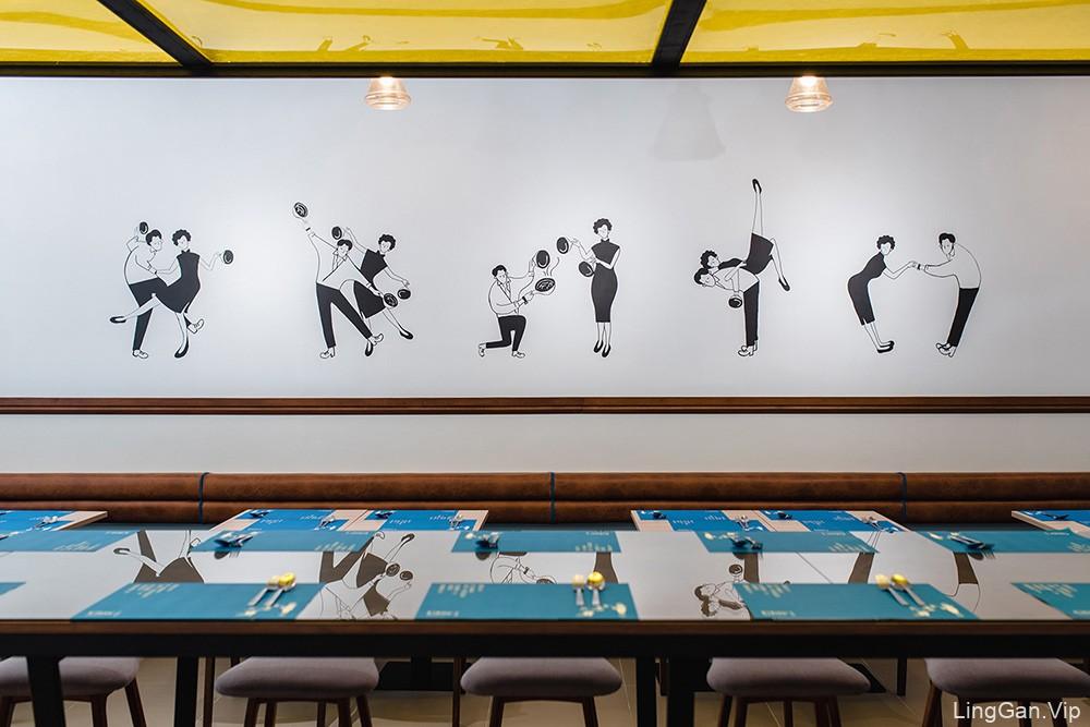 港式咖啡店!20世纪复古风餐厅VI设计- 快乐饭堂