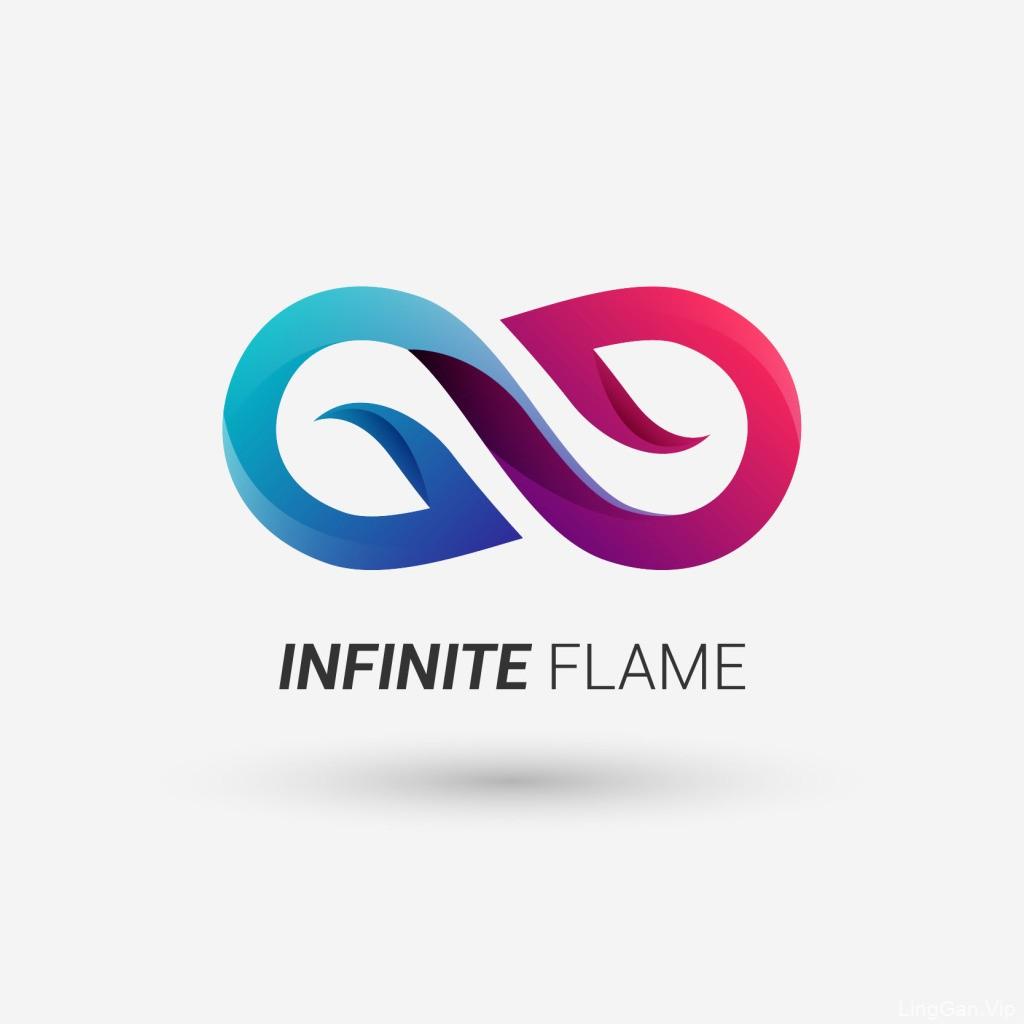 Infinite Flame 无限大渐变logo设计