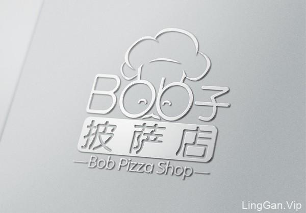 金属质感的Bob子披萨连锁店logo标志设计欣赏