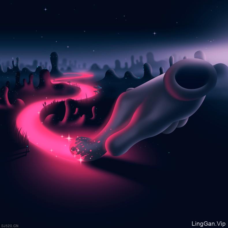 一系列的光照效果艺术插画
