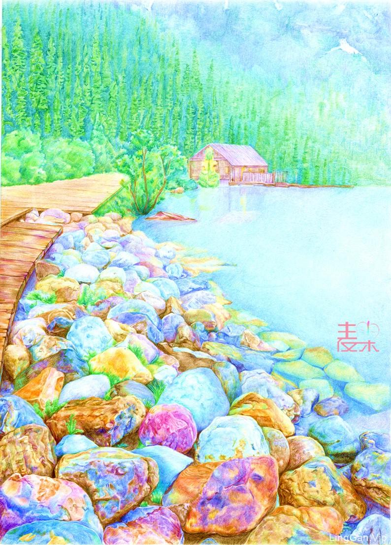 《你也可以画得很美》—风景 河畔岩石
