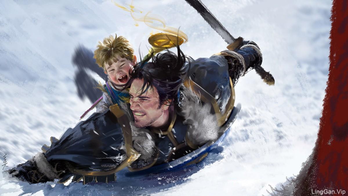 [美术插画]父与子-雪中嬉戏-xi zhang