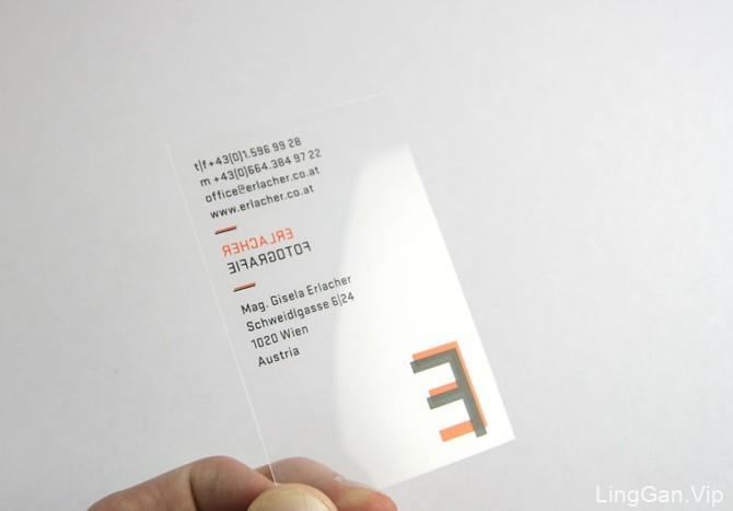 德国品牌bauer竖式透明名片设计