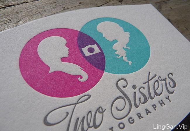 姐妹摄影凸版名片设计