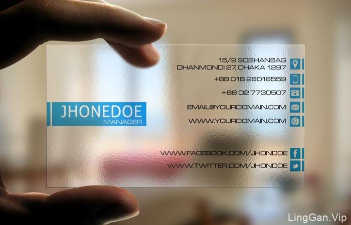 JHONEDOE精致的透明名片设计欣赏