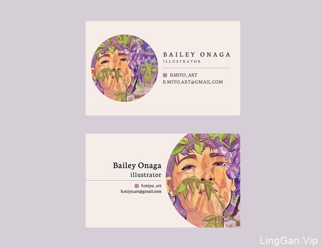 插画师Bailey Onaga漂亮的个人名片设计