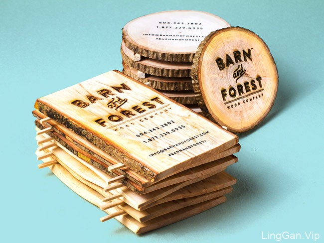 美国Jukebox Print个性化木制名片设计作品