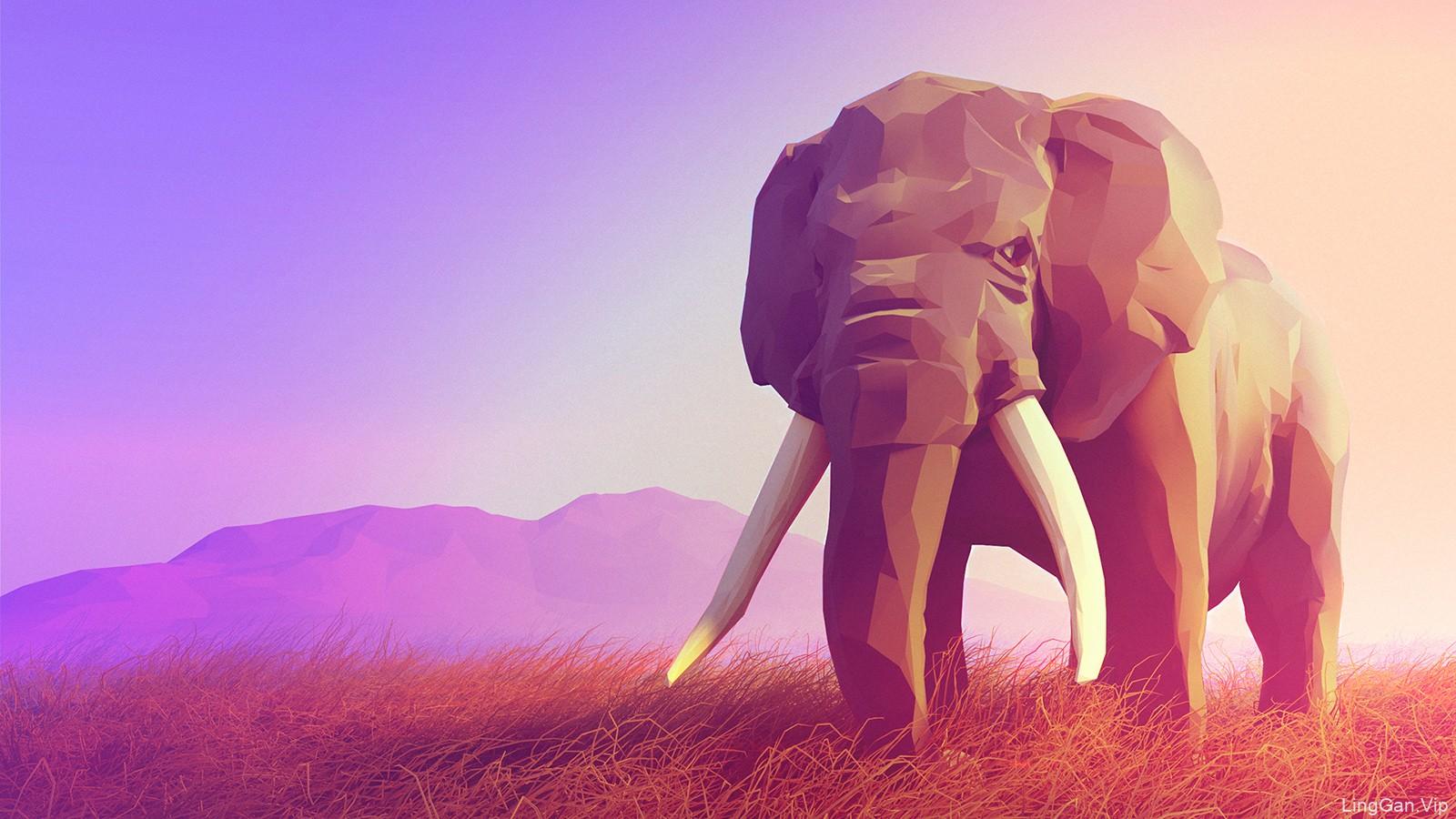 插画作品-孤独原野上的大象