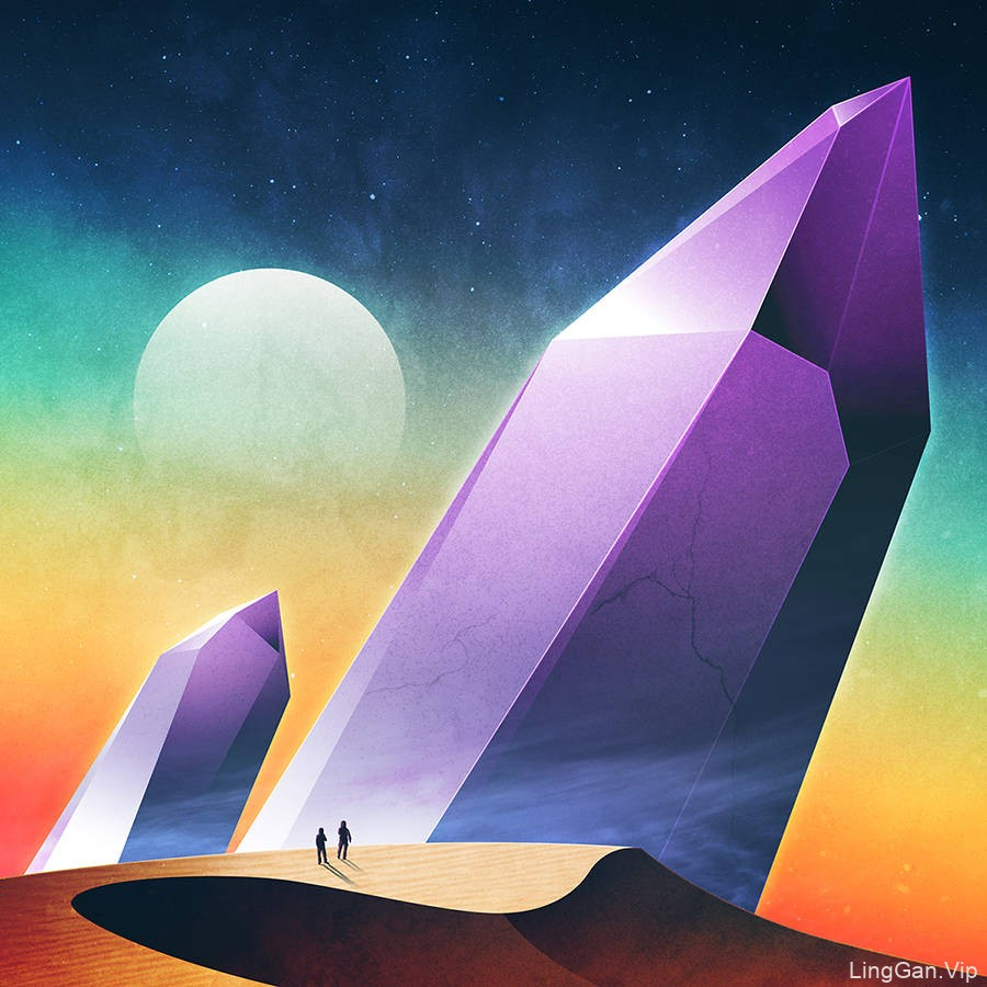 丰富多彩的未来生活的插图设计欣赏-远离我们小小的地球