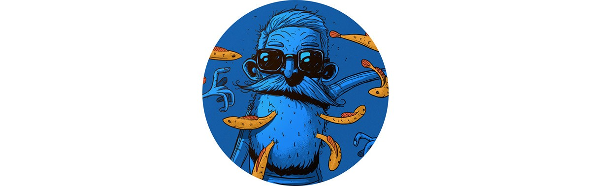 Fishes 冷色调的插图,希望你们喜欢