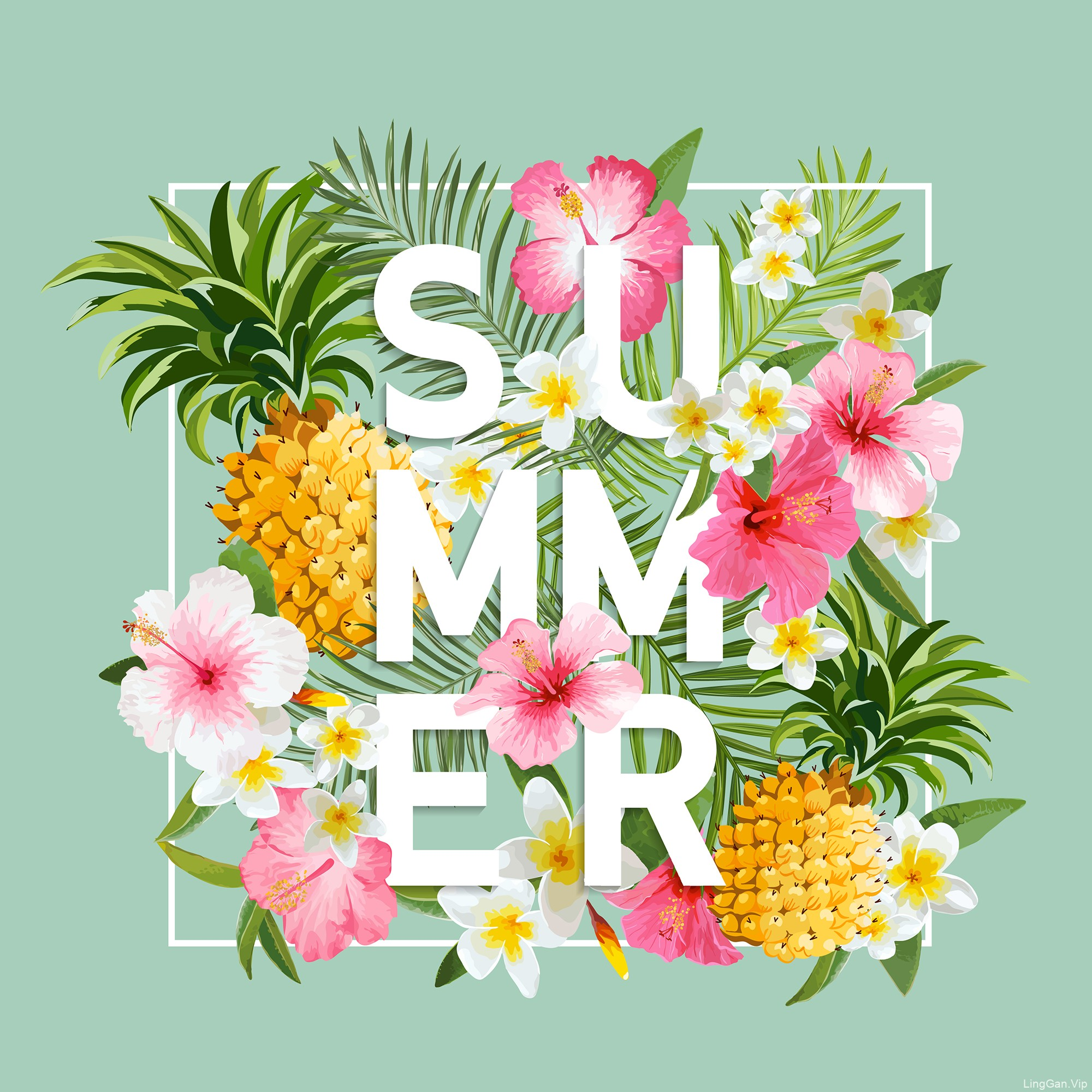春夏花卉海报矢量