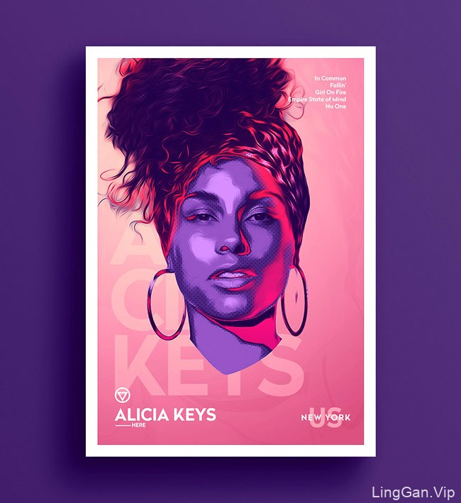 美术插画比利时TarekOkbir的霓虹灯风格肖像插画分享