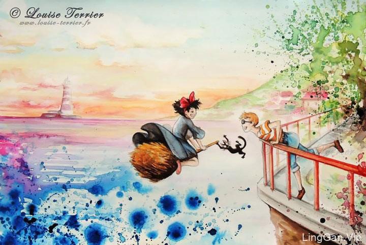 Louise Terrier的日本动漫灵感水彩画艺术分享