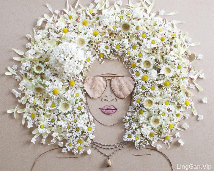 国外艺术家VickiRawlins用树枝和鲜花创作的肖像画1