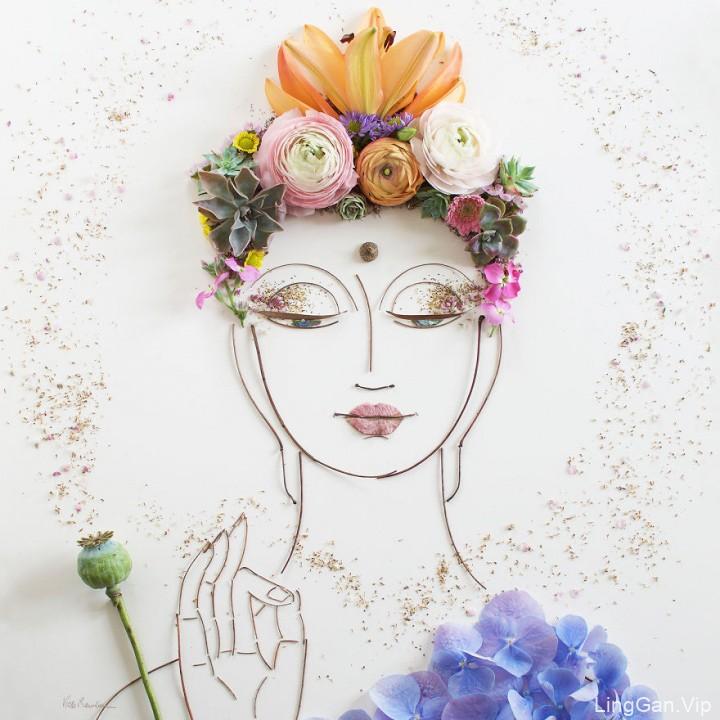 国外艺术家VickiRawlins用树枝和鲜花创作的肖像画2