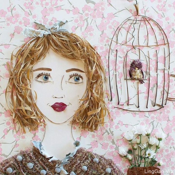 艺术家VickiRawlins用树枝和鲜花创作的美女肖像画3