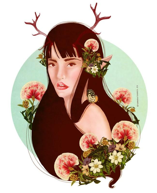 国外作家Tamara Torres的概念美女肖像插画艺术分享